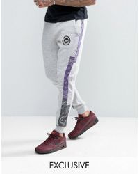 Hype | Gray Skinny Joggers In Grey With Bandana Print Panels for Men | Lyst