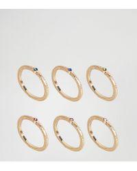 ASOS - Metallic Pack Of 6 Rainbow Stone Rings - Lyst