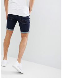 ASOS - Blue Denim Shorts In Super Skinny Indigo for Men - Lyst
