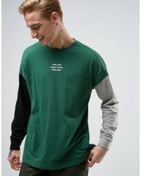 ASOS | Green Oversized Long Sleeve T-shirt With Text Print And Contrast Sleeves for Men | Lyst