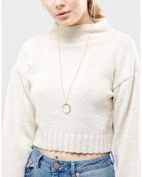 Pieces - Metallic Kristina Long Pendant Necklace - Lyst