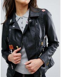 ONLY | Black Faux Leather Jacket With Badge Detail | Lyst