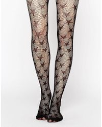 Leg Avenue | Black Micro Net Star Tights | Lyst