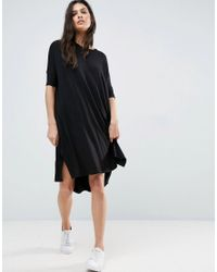 ASOS | Black Oversize T-shirt Dress With Curved Hem | Lyst
