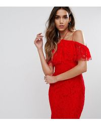 Naanaa   Red Lace Bodycon Dress With Frill Overlay   Lyst