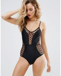 New Look | Black Spot Mesh Swimsuit | Lyst