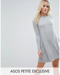 ASOS | Gray Grandad Button Swing Dress | Lyst