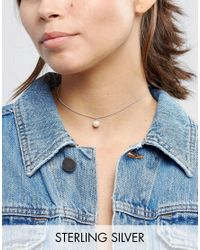ASOS | Metallic Sterling Silver Faux Pearl Choker Necklace | Lyst