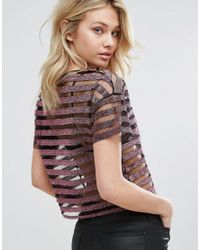 Mango - Pink Metallic And Mesh Stripe Top - Lyst