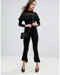 ASOS - Black Top With Mesh And Ruffle Detail - Lyst