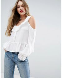 ASOS | White Cold Shoulder Blouse With Ruffle Detail | Lyst