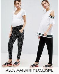 ASOS | 2 Pack Jersey Peg Trousers In Plain Black And Blurred Spot Print | Lyst