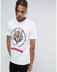 Criminal Damage | T-shirt In White With Tiger Print for Men | Lyst