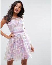 Zibi London | Purple Organza Floral Dress With Satin Sash | Lyst