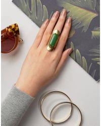 Glamorous - Metallic Statement Green Stone Ring - Lyst