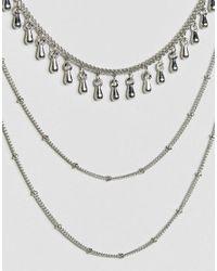 ASOS - Metallic Multi Row Bunting Necklace - Lyst