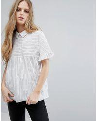 Vila | White Short Sleeve Striped Smock Blouse | Lyst