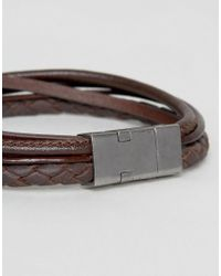 Seven London - Leather Multi Bracelet In Brown for Men - Lyst