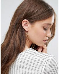 Pilgrim - Metallic Gold Plated Simplistic Double Hoop Drop Earrings - Lyst