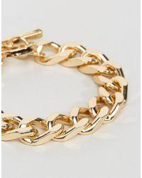 ASOS - Metallic Oversized Chain Bracelet In Gold for Men - Lyst