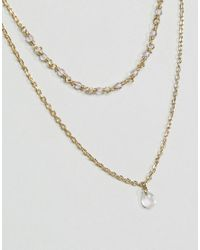 Orelia - Metallic Gold Plated Bead Teardrop Double Row Necklace - Lyst