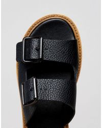 Warehouse - Black Flatform Buckle Sandal - Lyst