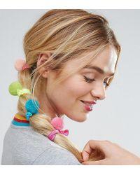 ASOS - Blue Pack Of 4 Pom Hair Ties - Lyst