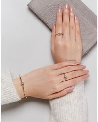 ASOS - Metallic Pack Of 3 Knot Rings And Cuff Bracelet Pack - Lyst
