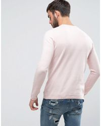 Pull&Bear - Lightweight Knit Jumper In Light Pink for Men - Lyst