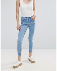 Pieces - Blue Jute Mid Rise Cropped Skinny Jeans - Lyst