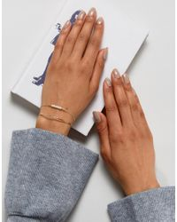 ASOS | Metallic Limited Edition Double Row Pearl And Twisted Cuff Bracelet | Lyst