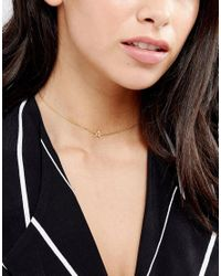 Orelia - Metallic Chain Choker With Initial A - Lyst