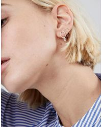 ASOS - Metallic Asos Sterling Silver Hammered Double Circle Drop Earrings - Lyst