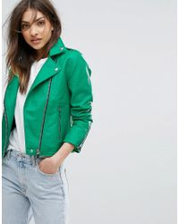 Mango | Green Leather Look Biker Jacket | Lyst