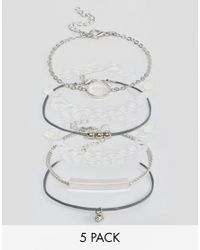 New Look - Metallic 5 Pack Bracelets - Lyst