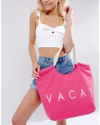 South Beach - Pink Vacay Beach Bag - Lyst