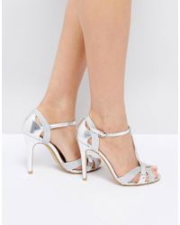 8eba00b38923 True Decadence T-bar Silver Heeled Sandals in Metallic - Lyst