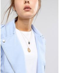 ASOS - Metallic Vintage Style Angel & Molten Coin Multirow Necklace - Lyst