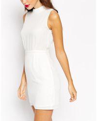 ASOS - White Petite Sleeveless Mini Dress With High Neck - Lyst
