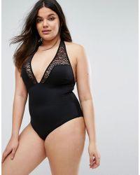 ASOS - Black Scuba Leopard Mesh Insert Supportive Swimsuit - Lyst