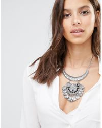 Missguided - Metallic Crystal Cluster Statement Necklace Silver - Lyst