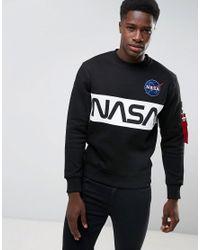Alpha Industries - Nasa Inlay Crew Sweatshirt In Black for Men - Lyst