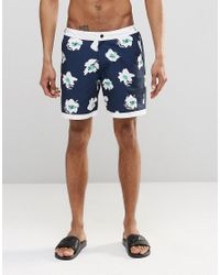 ASOS - Blue Swim Shorts With Fixed Waistband In Floral Print In Mid Length for Men - Lyst