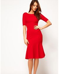 ASOS Red Exclusive Seamed Bodycon Dress With Trumpet Hem