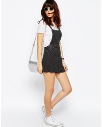 ASOS - Black Jersey Pinafore Playsuit In Polka Dot - Lyst