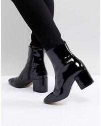 ASOS DESIGN - Black Rosana Leather Block Heeled Boots - Lyst