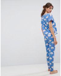 ASOS - Blue Duvet Day Tee & Legging Pyjama Set - Lyst