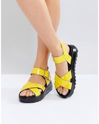 4c506e86f20 Lyst - ASOS Find Me Chunky Flat Sandals in Yellow