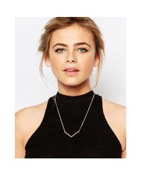 Coast - Metallic Rose Gold V Bar Necklace - Lyst