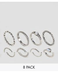 ASOS - Metallic Asos Pack Of 8 Woven Band And Stone Rings - Lyst